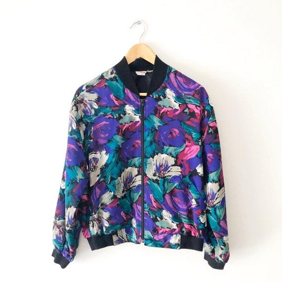 Vintage 90s Floral Print Bomber Jacket, 90s Women'