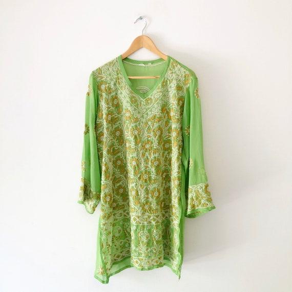 Vintage Sheer Green Floral Embroidered Long Sleeve