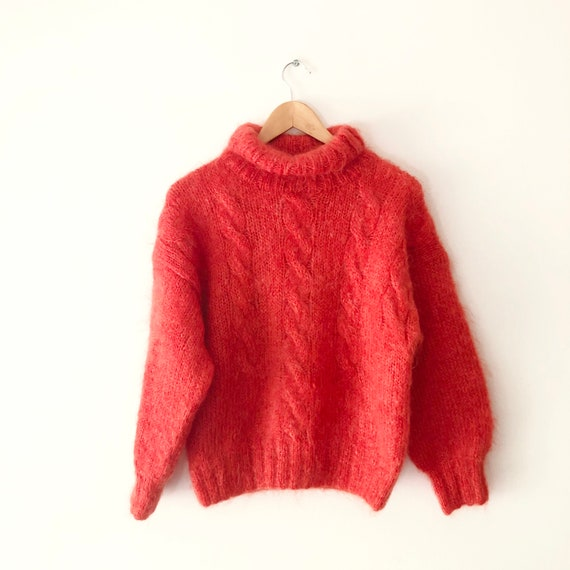 Vintage 90s Orange Fuzzy Mohair Chunky Cable Knit