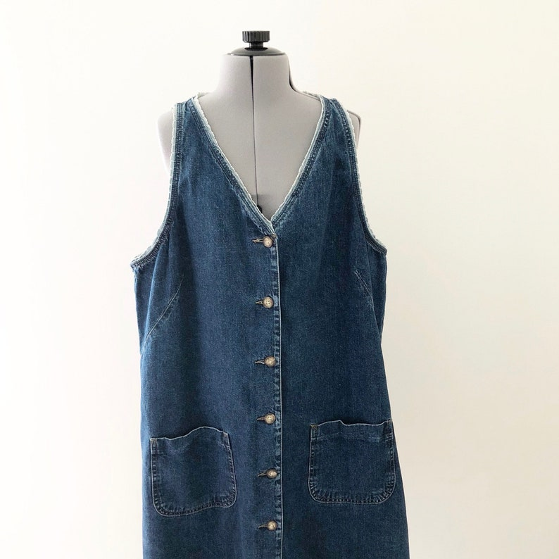 Vintage 90s Plus Size Button Up Denim Dress with Lace Trim, 90s Women\'s  Clothing, Vintage Jean Dress, Vintage Plus Size Clothing, Size 16