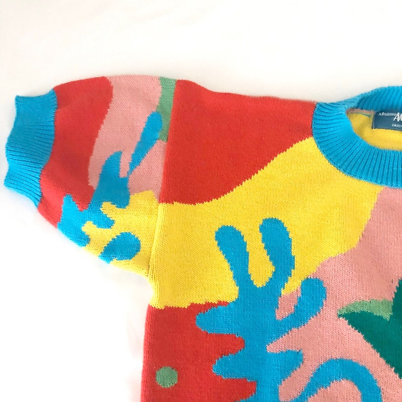 Vintage 90s Multicolor Abstract Tropical Print Oversized Knit Short Sleeve Sweater 100/% Cotton Size M