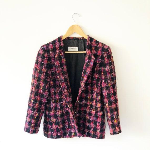 Multi Color Plaid Streetwear Blazer Vtg 1980s Rainbow Plaid Tweed Blazer Size Large