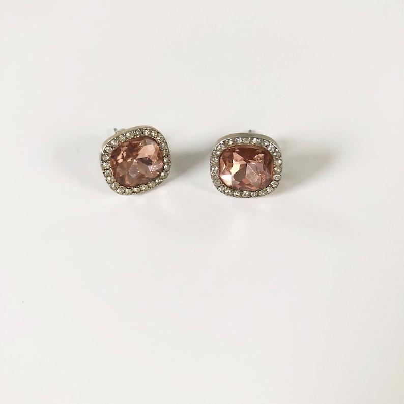 228daba1017d6 Vintage Large Pink Rhinestone Stud Earrings, Square Earrings, Women's  Earrings, Vintage Jewelry, Costume Jewelry, Crystal Earrings