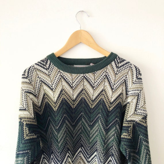 Vintage 90s Chevron Print Knit Pullover Sweater, S