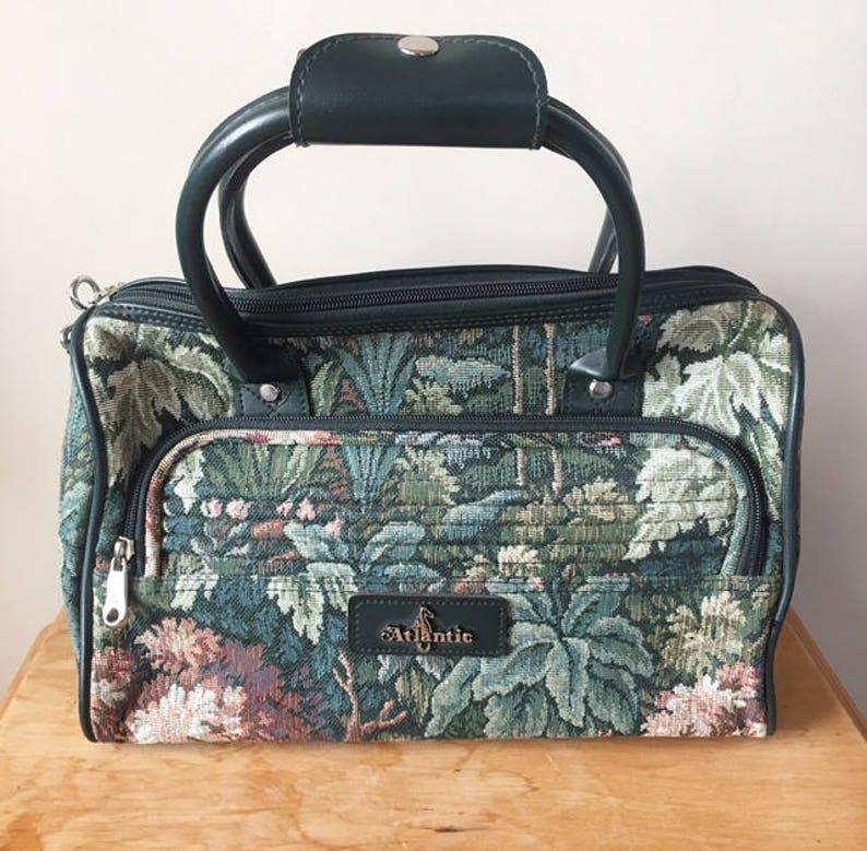 5c85bb91d9 Vintage 80s Atlantic Floral Tropical Tapestry Bag Green