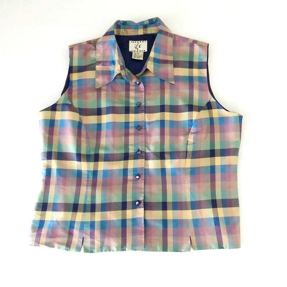 90s Vintage Plaid Sleeveless Shirt Size Medium  Cotton and Linen Blend Blouse