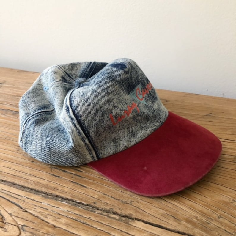 fc6b88d66797 Vintage 90s Luray Caverns Denim and Suede Baseball Cap 90s