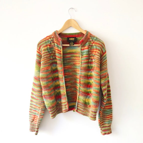 Vintage 90s Free People Cropped Rainbow Striped K… - image 4