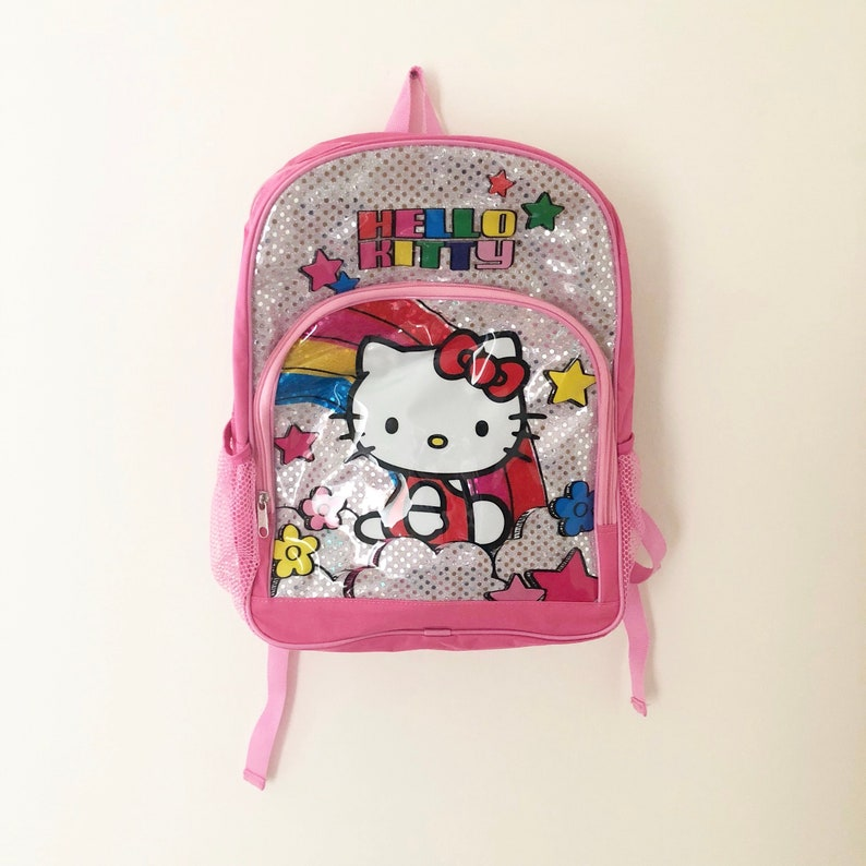 bb84fb80e8 Vintage 90s Hello Kitty Pink Rainbow Glitter Backpack Retro