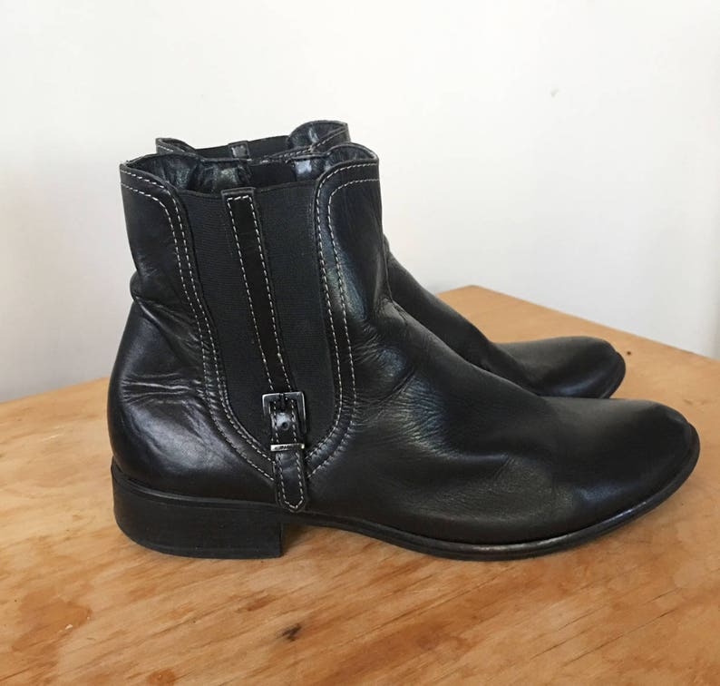 3975fe4a488d0 Vintage 90s Black Leather Buckle Boots, Zipper Boots, Women's Boots,  Cowgirl Boots, Western Boots, Chelsea Boots, Size 6.5