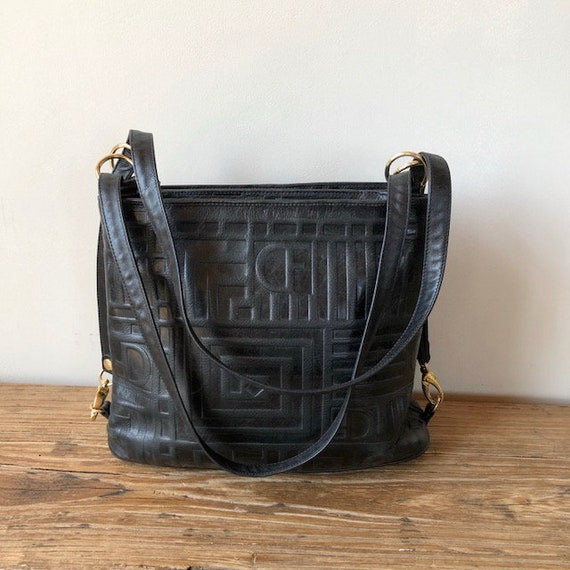 Vintage 90s Due Fratelli Black Leather Textured Monogram Shoulder Bag,  Vintage Leather Goods, 90s Handbag, Women's Bags, Made in Canada