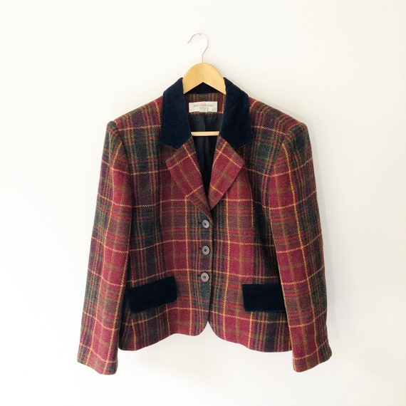 Vintage 90s Red and Green Plaid Wool Blazer with B