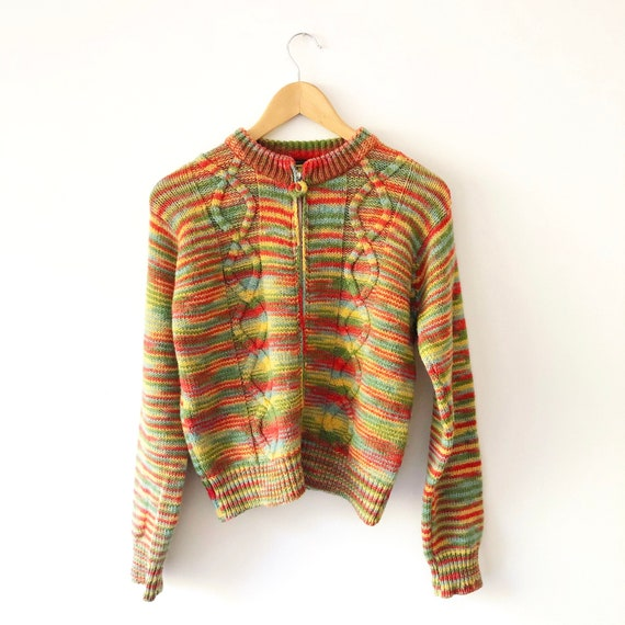 Vintage 90s Free People Cropped Rainbow Striped K… - image 1
