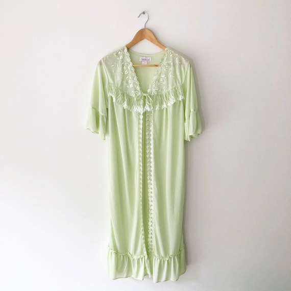 Vintage Green Sheer Embroidered Ruffle Robe, Size