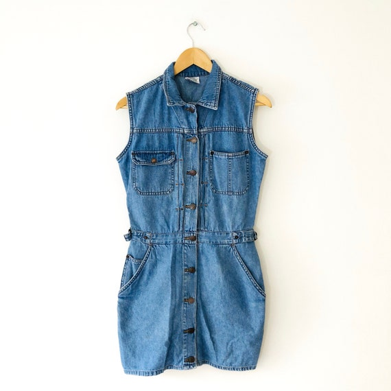 Vintage 90s Jordache Blue Denim Jumper Dress, Jean