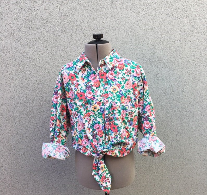 74733f48 Vintage 90s Floral and Print Button Up Shirt 90s Women's | Etsy