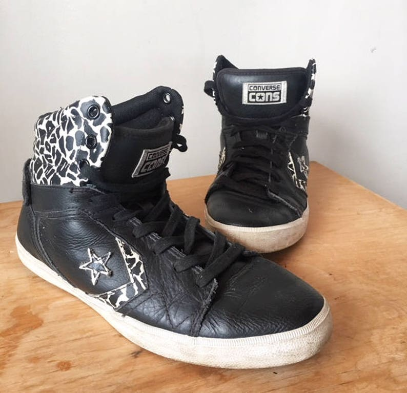 ce60bbb95adf5c Vintage Converse Cons All Star Black Leather Leopard Print