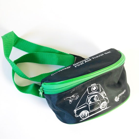 Vintage 90s Black Neon Green German First Aid Wais