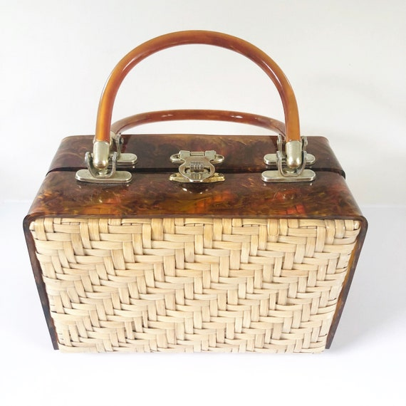 Vintage Woven Wicker Box Purse with Tortoiseshell
