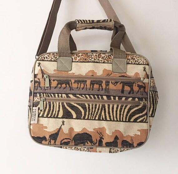 Vintage 90s Leopard Zebra Safari Tapestry Bag, Ani