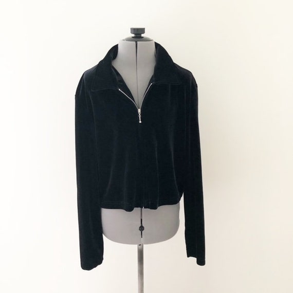 Vintage 90s Black Velour Cropped Zip Up Sweater 90s Etsy