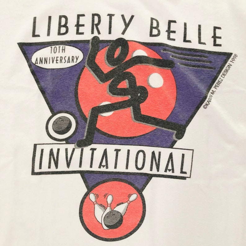 Vintage 90s Liberty Belle Bowling Retro Graphic Tee 100/% Cotton Size L
