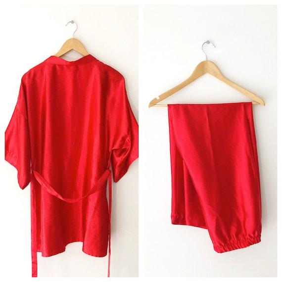 Vintage Red Satin Robe and Pajama Pants Set, Made