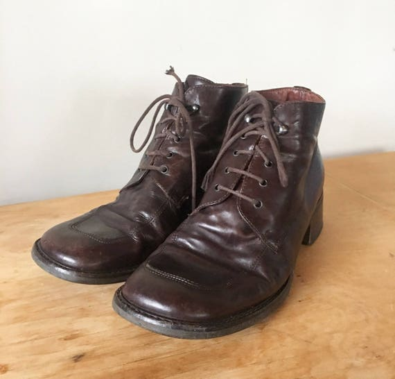 40294f1153bfb Vintage Franco Fortini Brown Leather Ankle Boots, Lace Up Boots, Vintage  Women's Boots, Heel Boots, Made in Italy, Size 8.5