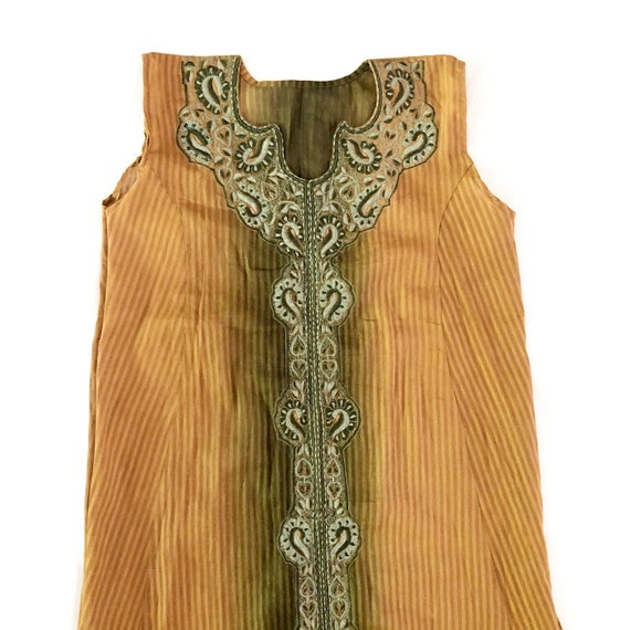 Vintage Sheer Brown and Green Ombre Embroidered Ma