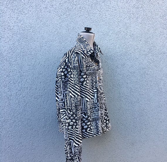 b45d05a8410 Vintage 90s Printed Black and White Denim Jacket with Sequins