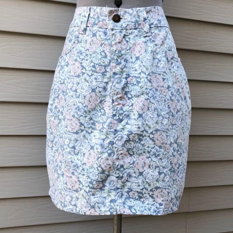 f1a8c51527 Vintage 90s Floral High Waisted Denim Pencil Skirt Vintage | Etsy