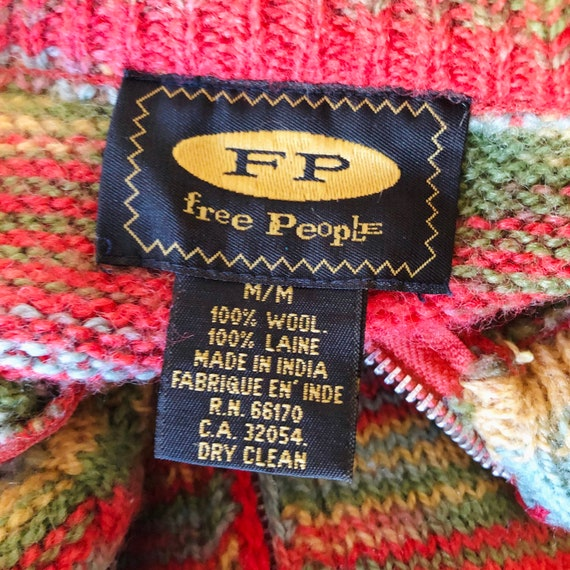 Vintage 90s Free People Cropped Rainbow Striped K… - image 7
