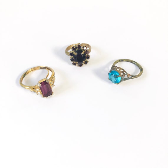 Vintage Set of 3 Stone Cocktail Rings