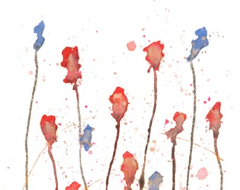 SALE 15% OFF - Modern Abstract Art Watercolor Acrylic Painting Red Pink Blue Gold Floral Flower Home Wall Decor - Free Shipping *
