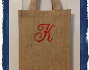 Personalized Double Wine Tote with 1 Initial in Monogram Font