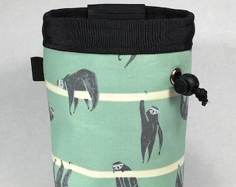 Chalk bag, Sloth, Climbing Chalk Bag, Chalk bag Climbing, Rock Climbing Chalk bag, Chalkbag, Climbing Gear, Sloth Chalk bag, Green
