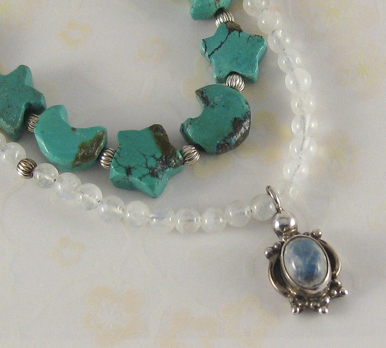 Moon and Stars  turquoise moonstone sterling silver image 0