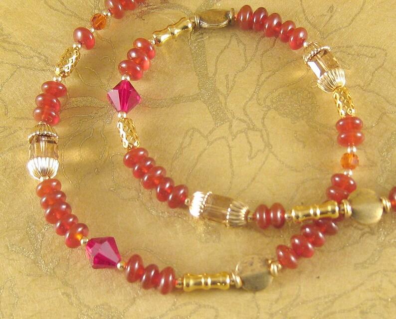 Marrakesh  carnelian Swarovski crystal 14k gold necklace or image 0