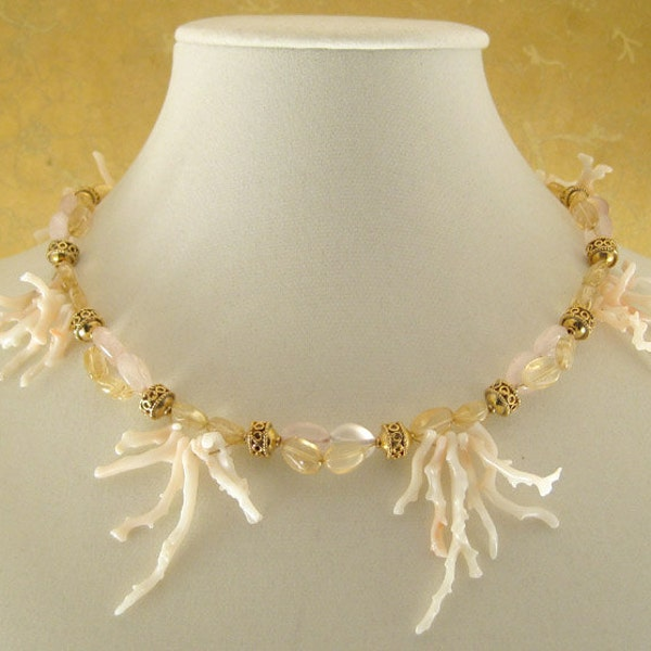 Spring Mermaid  coral citrine rose quartz 14k gold image 2