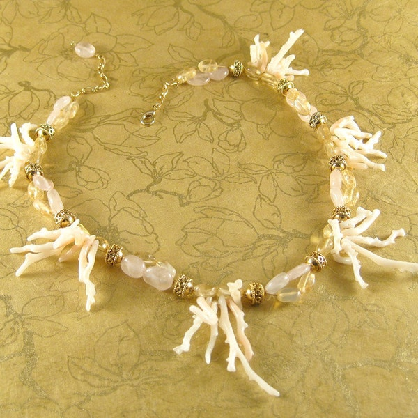 Spring Mermaid  coral citrine rose quartz 14k gold image 1