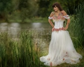 Alternative corset wedding dress with flower detail. Custom MADE TO ORDER/ measure