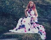 Alternative wedding dress- alternative prom dress- flower wedding dress- handmade flowers MADE TO ORDER