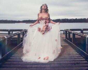 Alternative corset wedding dress with flower detail. Custom MADE TO ORDER/ measure