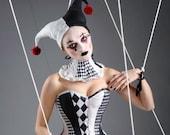 Harlequin corset - harlequin costume- joker- jester- cosplay. Custom made to measure