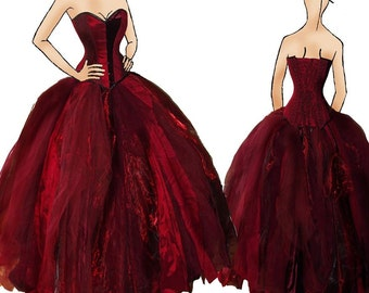 Red wedding dress. Alternative corset dress / prom. Custom MADE TO ORDER/ measure