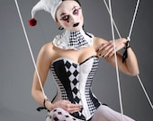 Gothic diamond Harlequin punk black and white corset for costume/ cosplay. Custom made to measure
