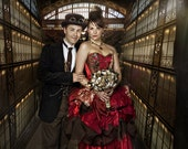 Custom colours steampunk wedding dress, custom made to measure