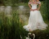 Alternative wedding dress- boho wedding dress- flower wedding dress- lace wedding dress- fabric flower detail. MADE TO ORDER
