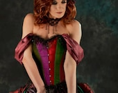 Steampunk Victorian gem colour corset wedding dress / prom with bustle MADE TO ORDER/ measure