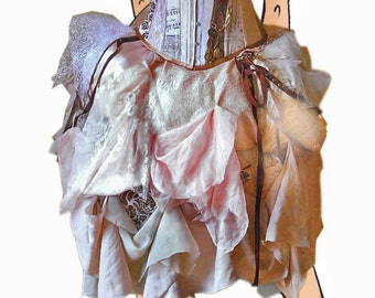 33e7ab79915 Steampunk nudes  pale pink palette Victorian corset bustle unique wedding  dress   prom Custom MADE TO ORDER  measure